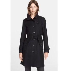 Burberry Rushfield Wool Military Coat Black